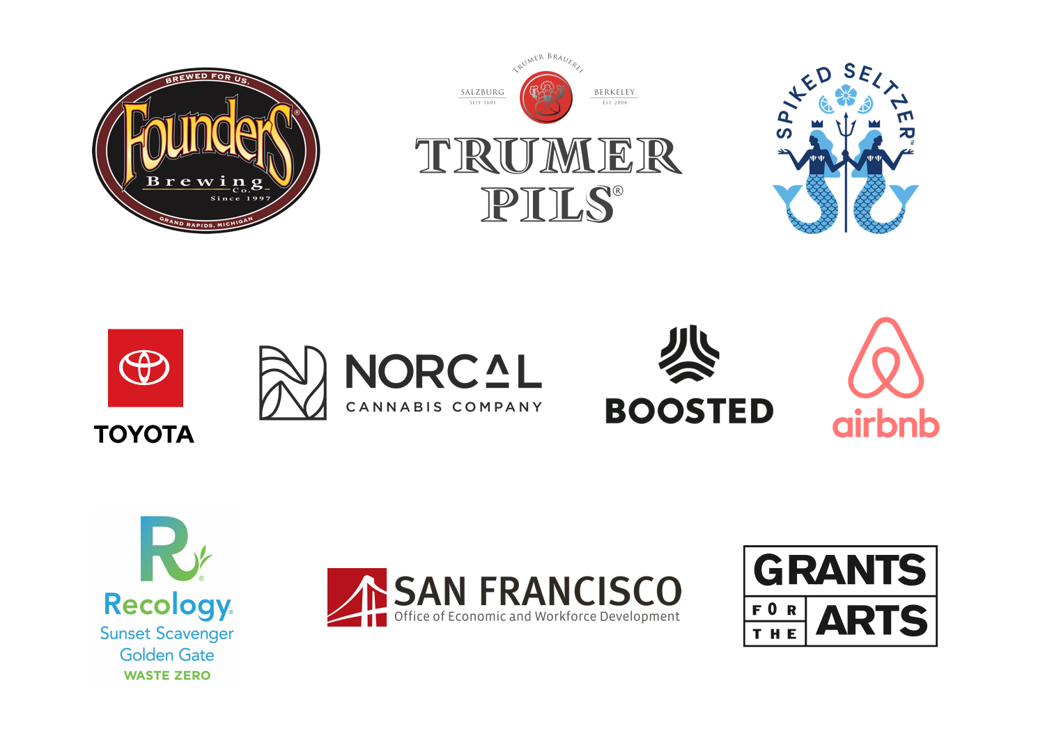 46th Annual Castro Street Fair sponsors: Founders Brewing, Trumer Pils, Spiked Seltzer, Toyota, NorCarl Cannabis Company, Boosted, Airbnb, Recology, SFOEWD, Grants for the Arts